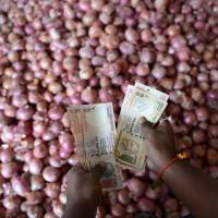 Time to worry: An onion trader counts rupees at a wholesale market in Hyderabad on Saturday. The rupee fell to a new low against the dollar last Friday, causing the nation's policymakers to begin panicking as they battle the worst currency crisis in more than two decades. | AFP-JIJI