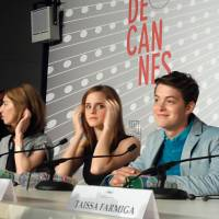 Live action: From left, director Sofia Coppola and actors Emma Watson and Israel Broussard attend the Cannes Film Festival press conference for their movie 'The Bling Ring' in Cannes, France, on May 16. The film Is based on the true story of a teenage gang that broke into the homes of Hollywood celebrities and made off with bags, watches, shoes and other valuables. | BLOOMBERG