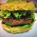 Who needs buns: Keizo Shimamoto and his ramen burger, which he serves to long lines of hungry diners in New York.