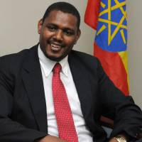 Building ties: Ethiopian Ambassador Markos  Tekle Rike talks about his country's recent economic growth at the embassy in  Tokyo's Minato Ward. | SATOKO KAWASAKI