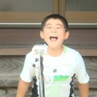 Let it all out: A boy takes part in a previous shouting tournament in Yokosuka.