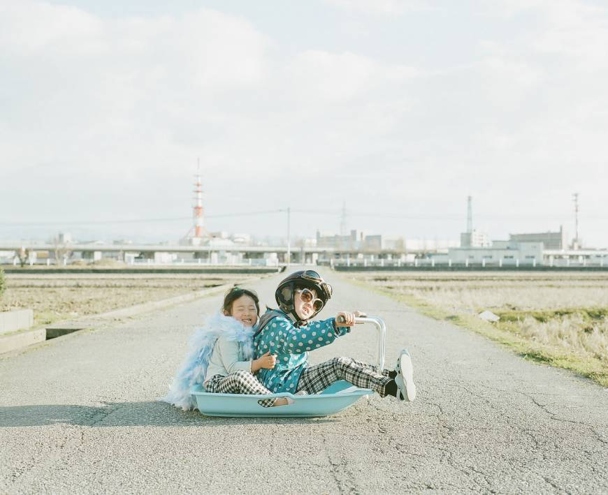 Toyokazu Nagano's daughters Miu (right) and Kanna in 'Tandem' (2011) from the 'Magic Road' series'  Toyokazu Nagano