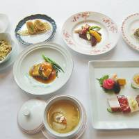 Yamagata products in Cantonese cuisine; Rihga Royal Osaka noodle and soup fair; Okura Tokyo charity art exhibit