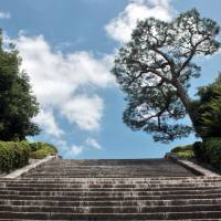 Fushimi Momoyama Tomb has a 230-step stone staircase up one side. | ALON ADIKA PHOTO