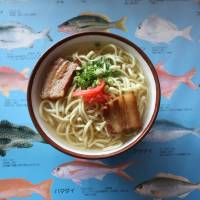 Okinawan soba at the Wayama Mozuku restaurant. | HILLEL WRIGHT PHOTO