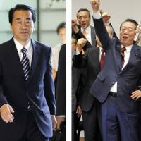 The incumbent: Prime Minister Naoto Kan walks into the Prime Minister's Official Residence on Friday. The challenger: Democratic Party of Japan powerhouse Ichiro Ozawa (right) and supporters cheer at a meeting Wednesday. | KYODO PHOTOS