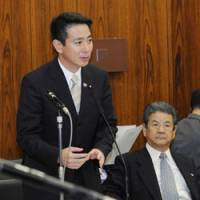 On the hot seat: Foreign Minister Seiji Maehara fields a question from an opposition lawmaker during an Upper House committee session Tuesday. | KYODO PHOTO