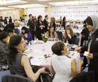 Networking: Participants in the Women's Entrepreneurship Summit gather at a hotel in the city of Gifu on Friday. | KYODO PHOTO