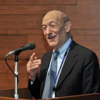 Top dog: Ezra Vogel, a professor emeritus of Harvard University and the author of 'Japan as Number One,' speaks at the symposium 'Japan as Number One Revisited' at the International House of Japan in Minato Ward, Tokyo, on Oct. 27. | YOSHIAKI MIURA PHOTO