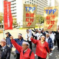 Rural rage: Farmers march through Tokyo's Kasumigaseki district Wednesday to protest the government interest in joining the Trans-Pacific Partnership free-trade pact. | YOSHIAKI MIURA PHOTO