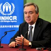 Seeing progress: U.N. High Commissioner for Refugees Antonio Guterres faces reporters Thursday in Tokyo. | YOSHIAKI MIURA PHOTO