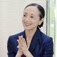 Agent of peace: Ballerina Yoko Morishita is interviewed in Hiroshima on July 13. | KYODO