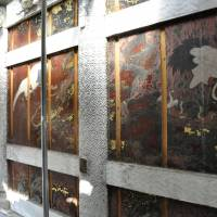 Light of day: Paintings hidden for more than 200 years on the walls of Yomeimon Gate at Toshogu Shrine in Nikko, Tochigi Prefecture, and discovered during renovation work are shown to the media earlier this month. | KYODO