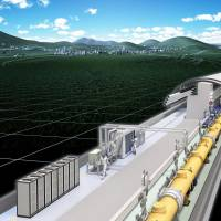 Fast-lane science: This image shows what a planned 30-km-long linear accelerator built in a tunnel might look like, as part of the International Linear Collider project. | KYODO