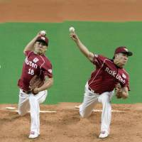 Winning ways: The Eagles' Masahiro Tanaka fires a pitch, shown in sequential form, against the Fighters on Friday at Sapporo Dome. | KYODO