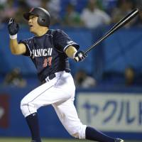 Familiar scene: Dragons star Motonobu Tanishige strokes a run-scoring single in the sixth inning against the Swallows on Thursday at Jingu Stadium. Chunichi defeated Tokyo Yakult 6-5. | KYODO