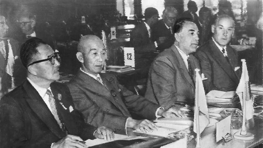 Start of something big: Tokyo Gov. Ryotaro Azuma (left) and IOC member Shingoro Takaishi attend the IOC session in Munich in May 1959 where Tokyo was selected as the host city of the 1964 Summer Olympics.