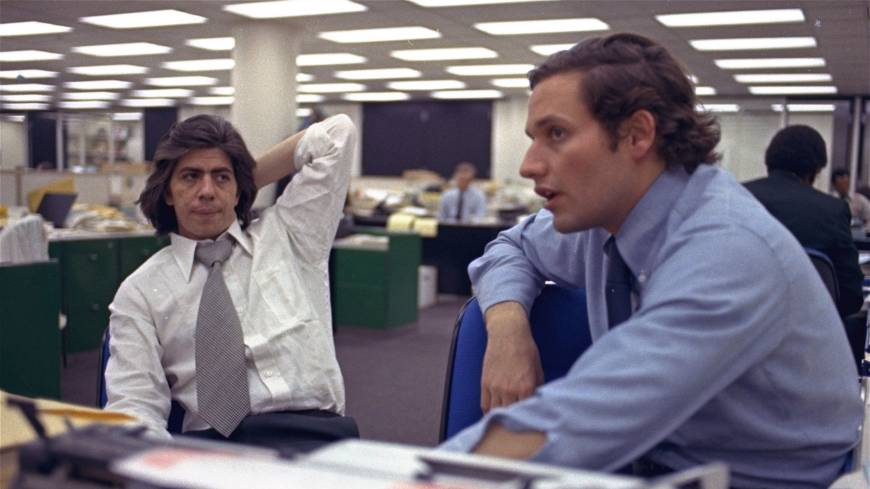 Star newshounds: Journalists Bob  Woodward (right) and Carl Bernstein, whose reporting of the Watergate scandal won them a Pulitzer Prize, sit in the  Washington Post newsroom in May 1973.