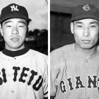 Amazing feats: Nishitetsu Lions pitcher Kazuhisa Inao (left) in 1957 won 20 straight decisions, while Kiyoshi Matsuda of the Yomiuri Giants accomplished the feat during the 1951 and '52 seasons. Tohoku Rakuten Golden Eagles ace Masahiro Tanaka now holds the NPB record by picking up wins in 21 straight decisions, including Friday's win over the Seibu Lions.  | KYODO