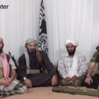 Gang of four: This image provided by IntelCenter, taken from a 2009 video released by the media arm of al-Qaida in the Arabian Peninsula, allegedly shows the group's senior leaders. From left: military chief Qassim al-Raimi, deputy head Said Ali al-Shihri, leader Nasser al-Wahishi and Abu al-Hareth Muhammad al-Oufi. | AP