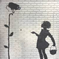 The shadow grows:  The artist Banksy's 'Flower Girl,' which formerly occupied a Los Angeles gas station wall, will headline an auction Dec. 5 in Beverly Hills, California. | AFP-JIJI
