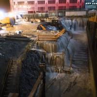 Water world: Seawater floods the Ground Zero construction site in New York last October after Superstorm Sandy slammed into the city, sending coastal residents fleeing. | AP