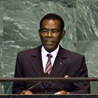 Poor choice: Teodoro Obiang Nguema Mbasogo, president of Equatorial Guinea, speaks at the United Nations on Sept. 23, 2009. The Sullivan Foundation came under fire for honoring longtime dictator Obiang as a 'champion of Africa.' | BLOOMBERG