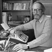 Departed: Writer Elmore Leonard sits by his typewriter at his home in Birmingham, Michigan, in March 1983. | AP