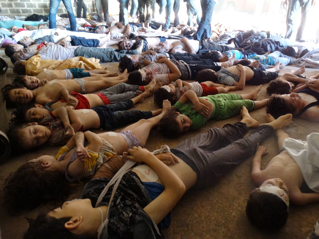 Makeshift morgue: An image released by the Syrian ...