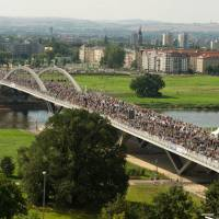 Dresden opens bridge that killed heritage status