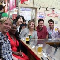 "People-to-people exchanges: Mutsumi Katayama (third from left) has annually organized and attended the Japan tours offered for American teachers selected as California Teachers of the Year (CTOY). The CTOY 2013 teachers enjoy ""okonomiyaki"" (Japanese savory pancake) at Okonomimura in Hiroshima on June 29, during their tour of Japan.  