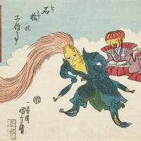 Utagawa Kuniyoshi 'Corn Swinging the Hair'