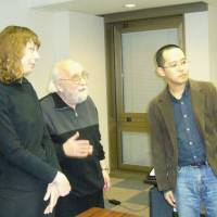 Free verse: Japan International Poetry Society founders (from left) Jane Joritz-Nakagawa, Jerome Rothenberg and Keiji Minato started their group in 2009.