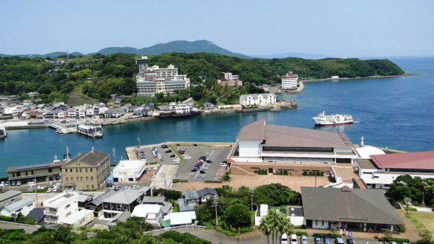 Island life: The view of the port from Hirado Castle.