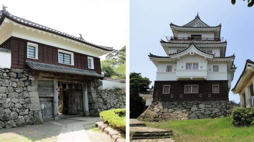 Hirado Castle, pictured right, with one of its old wooden gates left. The castle itself is a reconstruction, but two gates date back to the early 1700s; also on display is a sword nearly 1,500 years old and fascinating woodblock prints.