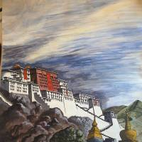 The writer's 1981 painting of the Royal Palace at Leh, Ladakh. | LESLEY DOWNER