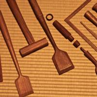 A selection of wooden instruments carved by a local craftsman. | KIT NAGAMURA