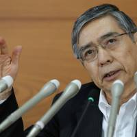 Setting policy: Bank of Japan Gov. Haruhiko Kuroda speaks during a news conference at BOJ headquarters in Tokyo on Aug. 8. | BLOOMBERG