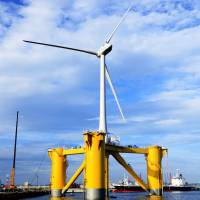 A floating offshore wind turbine in Fukushima. | TAKESHI ISHIHARA