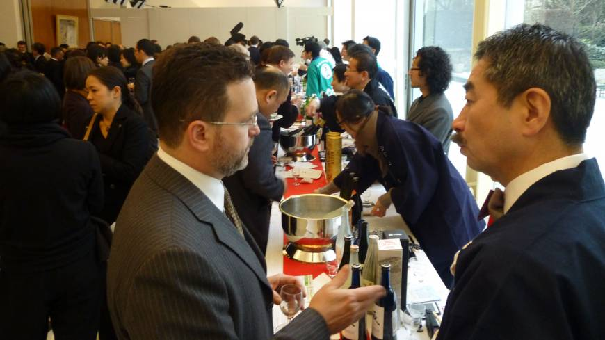 A large turnout attends a sake seminar and tasting event in New York in February.