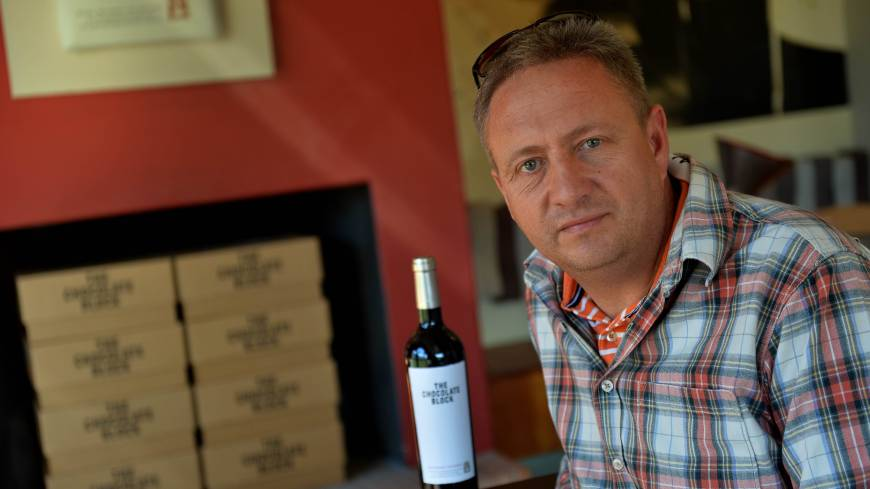 Aiming for greatness: Mark Kent of the Boekenhoutsklo vineyard in Franschhoek, South Africa, poses on Sept. 6.