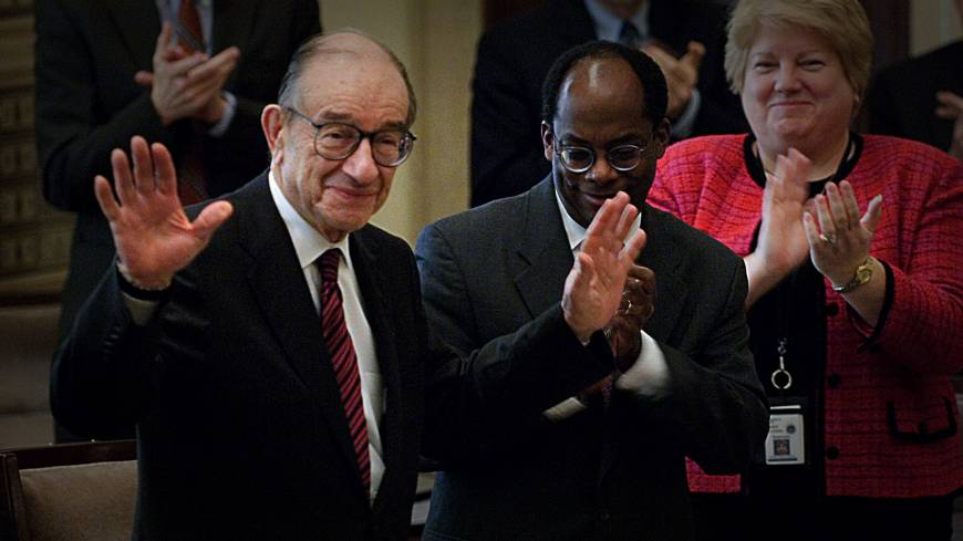 New take: A still image of former Fed chief Alan Greenspan taken from 'Money for Nothing,' a documentary focusing on the role the U.S. Federal Reserve plays in stoking booms and busts.