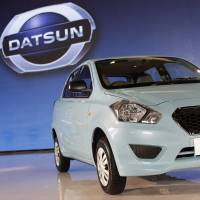 Hard charger: A Datsun Go is displayed at a media event in Jakarta on Tuesday. | BLOOMBERG
