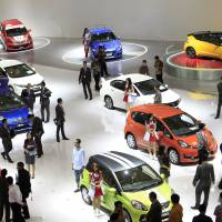 Going green: Environment-friendly vehicles are shown at the Indonesia motor show in Jakarta on Thursday. | BLOOMBERG