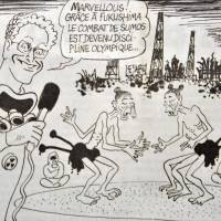 Overseas jab: Cartoons poking fun at Tokyo hosting the 2020 Olympics in the aftermath of the Fukushima nuclear disaster appeared in the Sept. 11 edition of the satirical French weekly Le Canard Enchaine. | KYODO