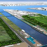 Start your paddles: This image of the Sea Forest Waterway in the Tokyo Bay Zone shows the venue for rowing and canoe-kayak sprints. | TOKYO 2020