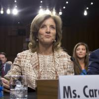 Hot seat: Caroline Kennedy is grilled last Thursday by the U.S. Senate Foreign Relations Committee on her nomination as ambassador to Japan. | AP