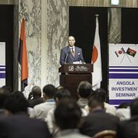 Opportunities: Angolan Minister of Geology and Mines Francisco Manuel Monteiro de Queiroz gives the keynote address at the Angola Investment Seminar held Sept. 4 in Tokyo. | EMBASSY OF ANGOLA