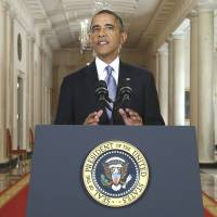 Chemical reaction: U.S. President Barack Obama addresses the nation in a live televised speech on Syria from the East Room of the White House in Washington on Tuesday.  | AP