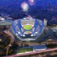 The future is now: An artist's rendering released by Japan Sport Council shows the new National Stadium, designed by architect Zaha Hadid. The stadium, which will seat 80,000 spectators, will serve as the main venue for the 2020 Olympics in Tokyo.   |  AP